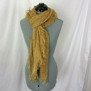 Cejon Scarf Square Weave Design Gold Tattered Look